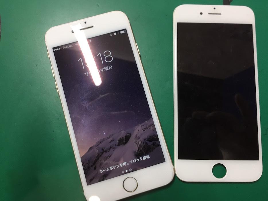 iPhone6アルコール水没による液晶不良修理後